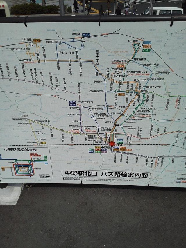 中野駅北口バスの路線