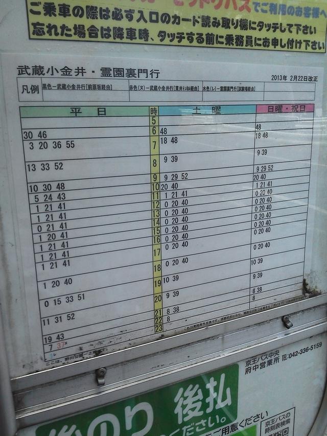 武蔵小金井駅行きバス